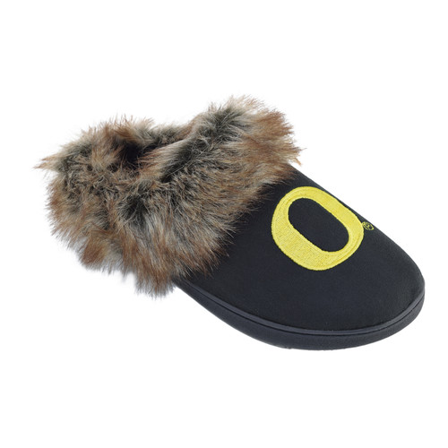 NCAA Womens Logo Fur Scuff Slippers - Oregon Ducks