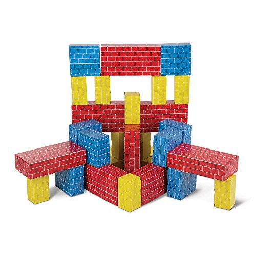 Melissa & Doug Jumbo Extra-Thick Cardboard Building Blocks - 40 Blocks in 3 Sizes [40 Piece]