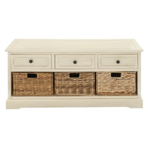 Wood Storage Cabinet 3 Wicker Baskets 3 Drawers White - Olivia & May