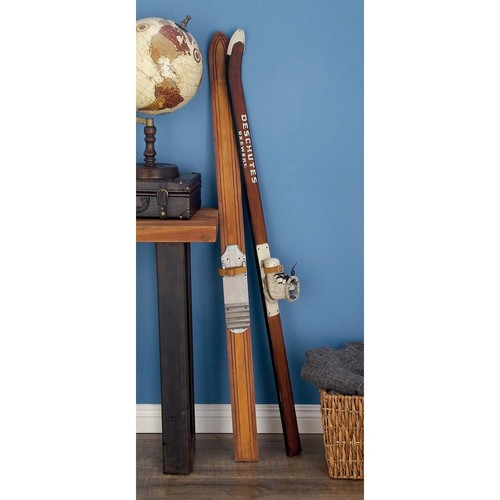 55 in. Decorative Pine Wood and Iron Ski Boot Sculpture