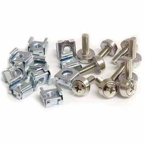 StarTech.com 50 Pkg M5 Mounting Screws and Cage Nuts for Server Rack Cabinet [Silver Cage Nuts and Mounting Screws, 50x M5]