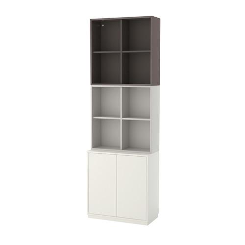 EKET Storage combination with base frame, white/orange, light orange