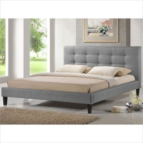 Baxton Studio - Velma Queen-size Upholstered Bed - Gray