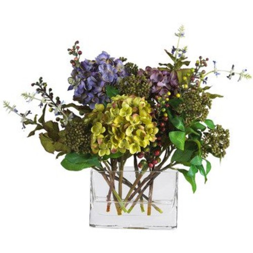 Nearly Natural Mixed Hydrangea w/Rectangle Vase Silk Flower Arrangement