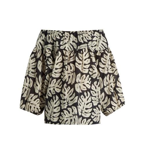CHLOÉ Palm Leaf-Print Cotton And Wool-Blend Top