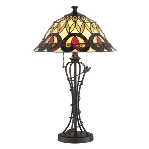 Illumine 25.5 in. Dark Bronze Table Lamp with Tiffany Shade