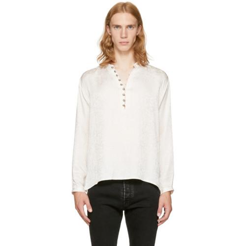 SAINT LAURENT Off-White Jacquard Half-Button Shirt