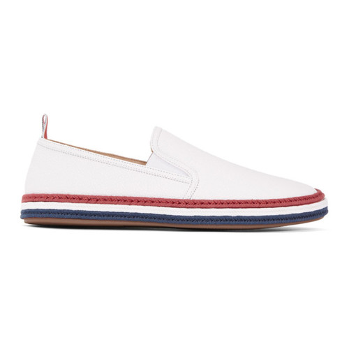 THOM BROWNE White Leather Espadrilles