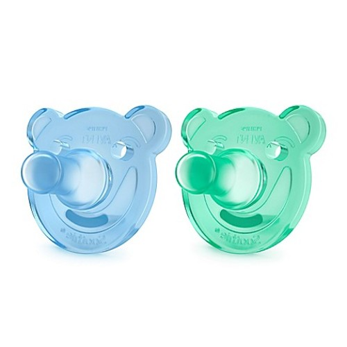 Philips Avent 0-3 M 2-Pack Soothie Shape Pacifier in Green/Blue
