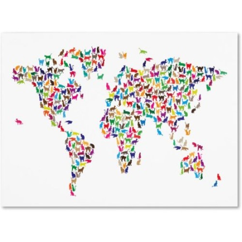 Cats World Map by Michael Tompsett work, 14 by 19-Inch Canvas Wall Art [14 by 19-Inch]