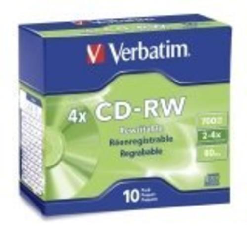 Verbatim 700MB 2x-4x 80 Minute Silver Rewritable Disc CD-RW, 10-Disc Slim Case 95170 [10-Disc Spindle]
