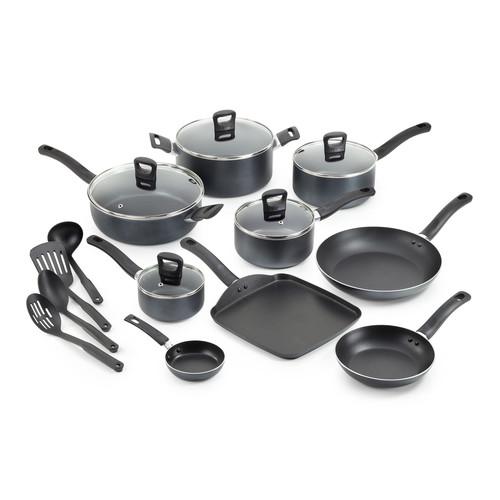T-fal 18-Piece Banquet Nonstick Cookware Set - Gray