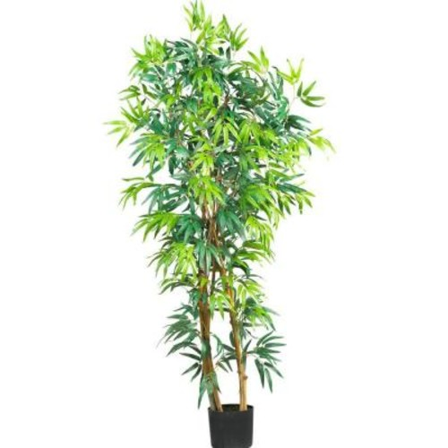 Nearly Natural 5 ft. Curved-Trunk Bamboo Silk Tree