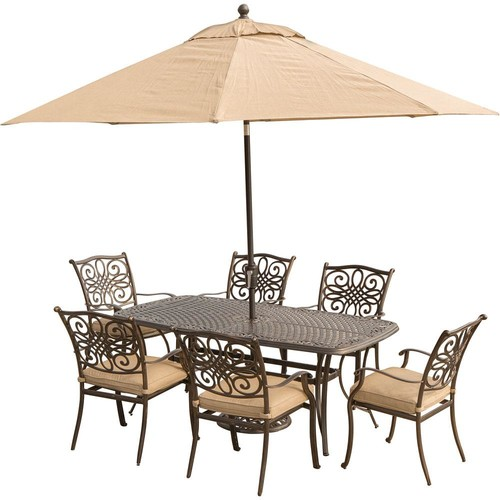 Hanover Traditions 7-Piece Aluminum Outdoor Dining Set with Rectangular Cast Table, Umbrella and Base with Natural Oat Cushions
