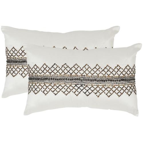 Safavieh Gossamer Metals Gunmetal Throw Pillows (12-inches x 20-inches) (Set of 2)