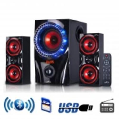 Befree Sound BFS-99X 2.1 Channel Surround Sound Bluetooth Home Theater Speaker System, Red