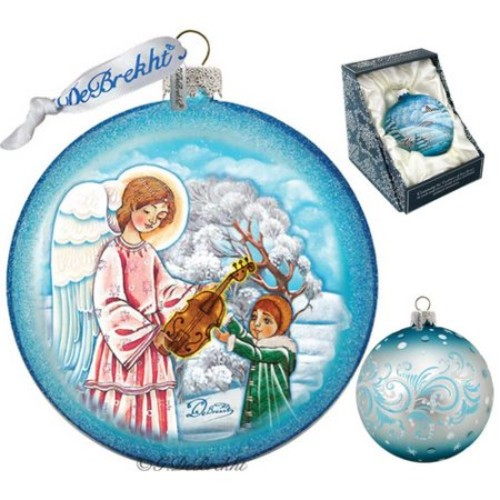G Debrekht Holiday Guardian of Music Angel Glass Ornament