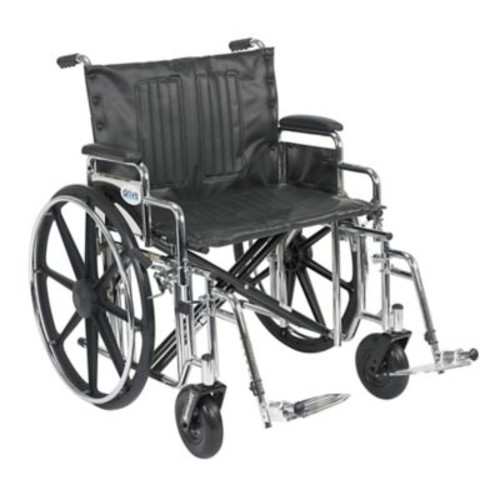 Drive Medical Sentra Extra Heavy Duty Wheelchair, Desk Arms, Footrest, 24