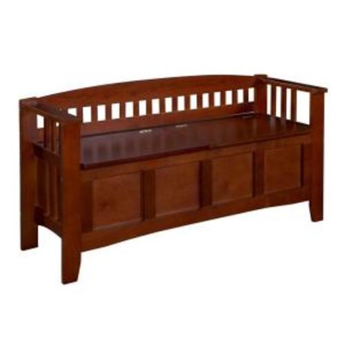 Linon Home Decor Walnut Storage Bench with Split Seat