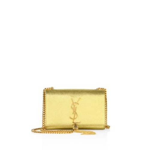 SAINT LAURENT Kate Monogramsmall Metallic Leather Tassel Chain Shoulder Bag