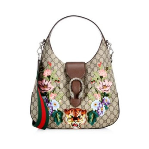GUCCI Embroidered Gg Supreme Hobo Bag