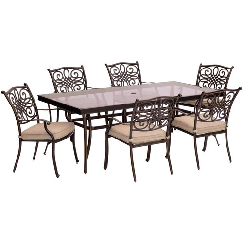 Hanover Traditions 7-Piece Aluminum Outdoor Dining Set with Rectangular Glass-Top Table with Natural Oat Cushions