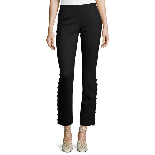 THE ROW Blaire Button-Detail Stretch-Wool Straight-Leg Pants, Black