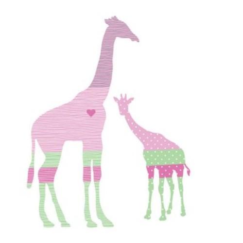 Eco Wall Decals 3 Piece Giraffe Wall Decal Set; Pink