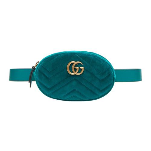 GUCCI Blue Velvet Gg Marmont Matelassé Belt Bag