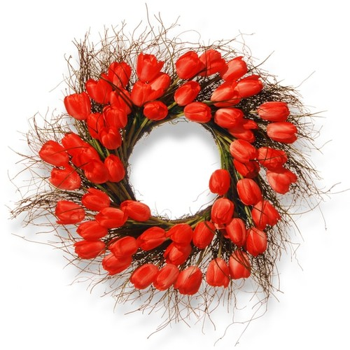 Natioinal Tree Company Red Plastic 24-inch Tulip Wreath