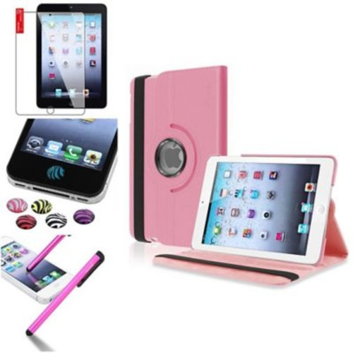 Insten 360 Degree Rotating Leather Case Stand for Apple iPad Mini 3 2 1+Sticker Light Pink