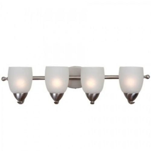 Yosemite 4-Light Vanity Light With Etched White Shade, Brushed Nickel
