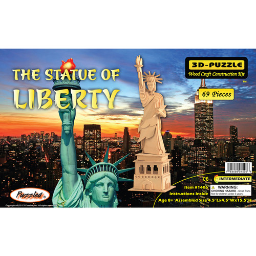 Puzzled The Statue Of Liberty snd Empire State Building Wooden 3D Puzzle Construction Kit