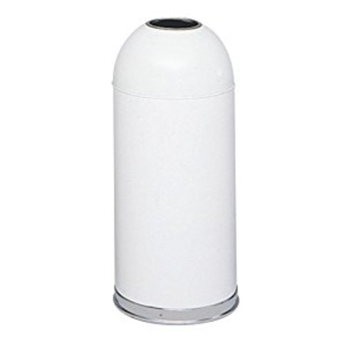 Safco Products 9639WH Open Top Dome Waste Receptacle, 15-Gallon, White [White, Open Top]