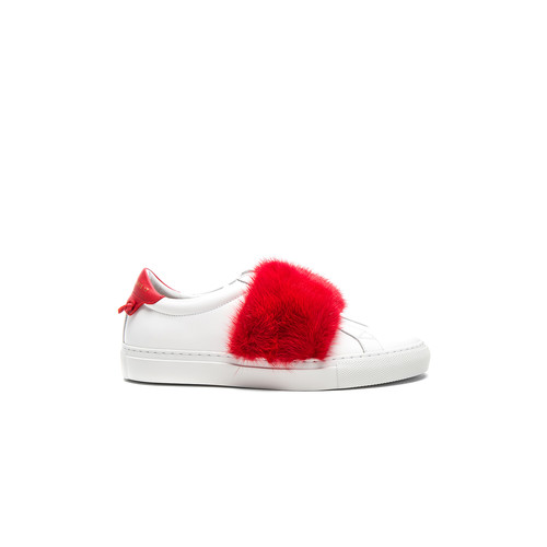 Givenchy Urban Street Elastic Strap Mink Low Sneaker in White & Red