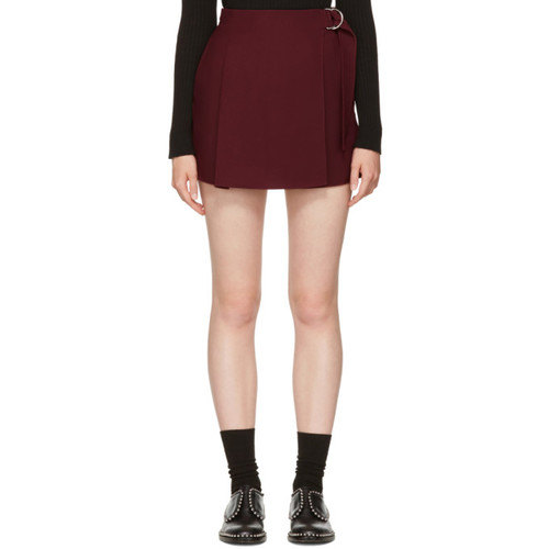 CARVEN Burgundy Belt Sash Shorts