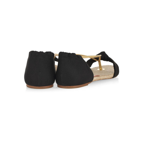 Doris twill and leather sandals