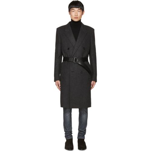 SAINT LAURENT Black Double-Breasted Belted Coat