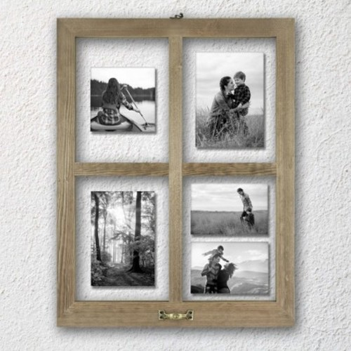 4 Opening Windowpane Collage Frame Weathered Wood - Threshold