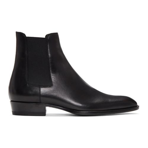 SAINT LAURENT Black Wyatt Chelsea Boots