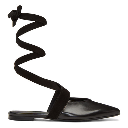 J.W. ANDERSON Black Lace-Up Ballerina Flats