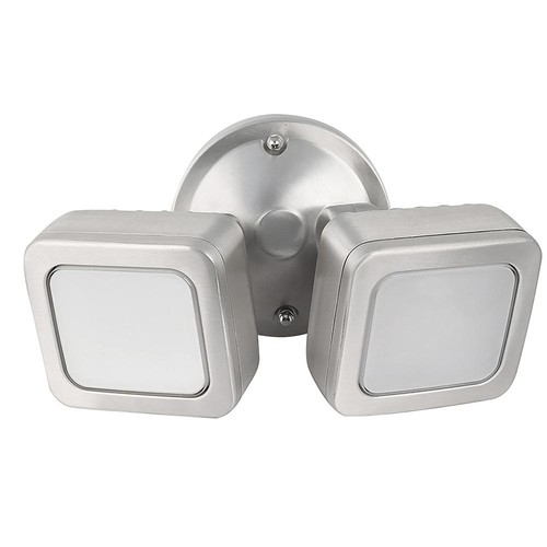 Feit Electric 36-Watt Stainless Outdoor Integrated LED Mini Dual Head Flood Light with Dusk to Dawn Photocell