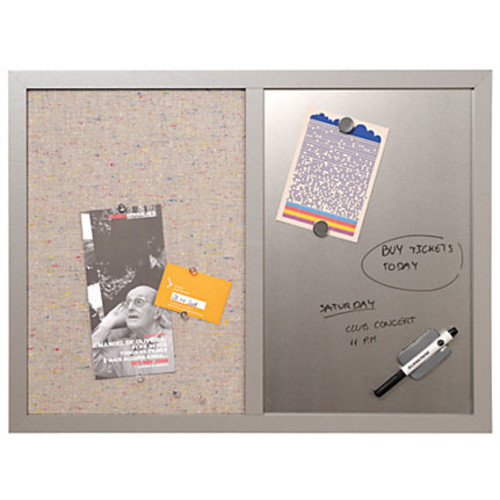 MasterVision Personal Board, Dry-Erase/Fabric Combo, 18 x 24, Gray/Silver