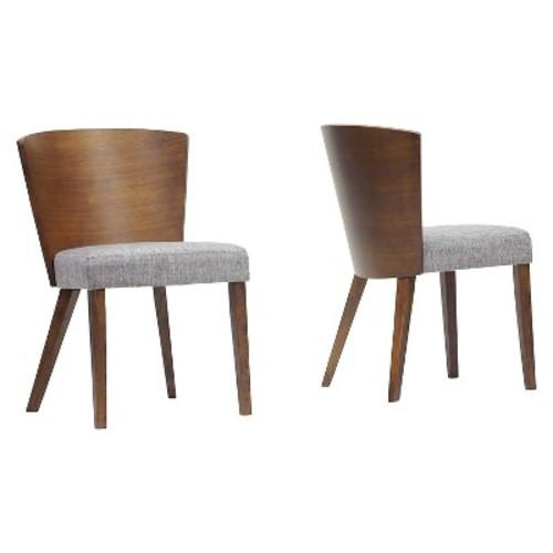 Sparrow Wood Modern Dining Chair - Brown/Gravel (Set of 2) - Baxton Studio
