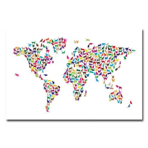 Trademark Global Michael Tompsett 'World Map - Cats' Canvas Art [Overall Dimensions : 30x47]