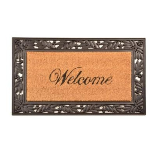 HomeTrax Designs Outdoor Welcome 1 ft. 6 in. x 2 ft. 6 in. Coir and Rubber Door Mat