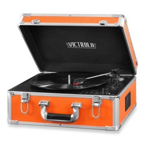 Victrola Full-Size Suitcase Record Player with CD Player and Bluetooth in Orange