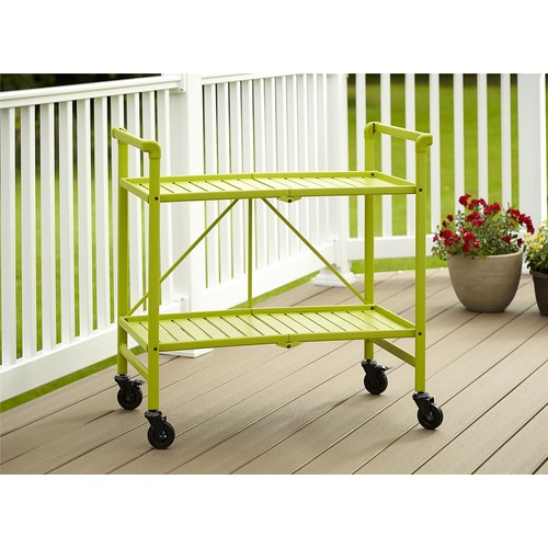 Cosco Home and Office Products Green Metal Slat Folding Serving Cart