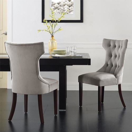 Dorel Clairborne Taupe Microfiber Tufted Dining Chairs (Set of 2)