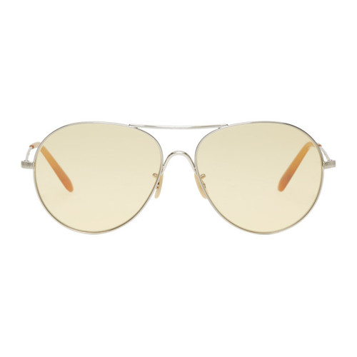 OLIVER PEOPLES Silver & Yellow Rockmore Sunglasses
